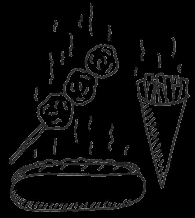 Street food snacks sketch